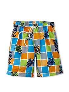 Azul Swimwear Boy's Turtle Grid Boardshorts (Multi)