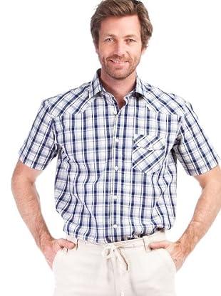 Cortefiel Camisa Cuadros Rústico (Blanco / Azul Marino)