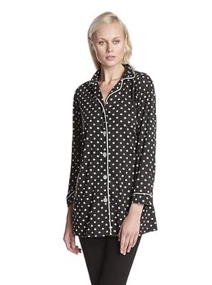 BH PJ's by BedHead Pajamas Women's Knit Nightshirt (Black/Ivory Dot Combo)