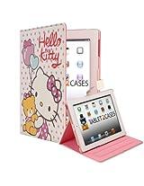 Hello Kitty Themed Apple iPad 2 / New iPad 3 Faux Leather Folio Case with Teddy Bear (Magnetic Closure, Automatic Sleep/Wake, 3x Angle Stand)