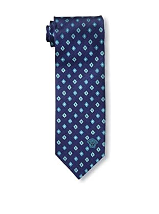 Versace Men's Floral Tie, Dark Blue/Light Blue