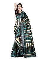 Jai Maa Ambey Creation Women's Cotton Silk Saree (Black)
