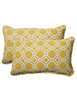 Pillow Perfect Indoor/Outdoor Rossmere Corded Rectangular Throw Pillow, Yellow, Set of 2