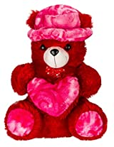 Adorable Red-Magenta Teddy with CAP and HEART (30 inch)
