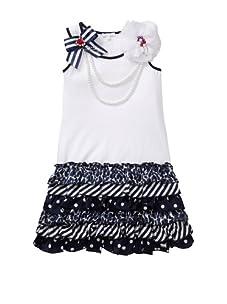 Miss Grant Girl's Sleeveless Tiered Dress (White)