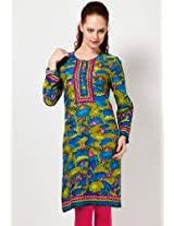 Cotton Blend Green Kurta