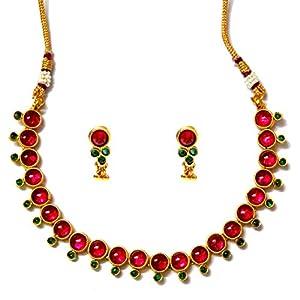 Daamak Jewellery Elegant Kemp Red Color Round Necklace Set