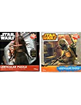 Star Wars Episode 7: The Force Awakens Kylo Ren Plus Boba Fett 100 Piece Lenticular Puzzle ( 9x 12 Inches) With 3 D Covers 2 Pack Bundle!