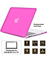 "AirPlus: AirCase - Rubberized Hard Case / Hard Shell Cover for 15.4"" Apple MacBook Pro 15 with DVD Writer (Models: A1286), Satin Feel, Color: HOT PINK"
