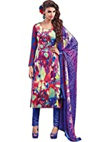 Pure Cotton Printed Embroidered Suit With Pure Dupatta