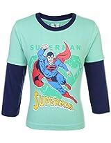 Cucumber Full Sleeves T-Shirt Superman Print - Green