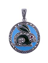 Silver Prince 6.7 Grm Bestseller Marcasite, Garnet, Turquoise, Green Onyx 925 Silver Pendant