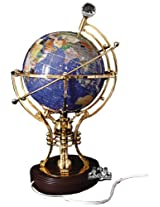 Unique Art 14-Inch Tall Illuminated Blue Crystal Ocean Table Top Gemstone World Globe with Auto Spin