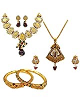 Surat Diamonds Ethnic Goddess Laxmi & Peacock Motif Jewellery Set & Lion Motif Enamelled Bangles for Women (H1418)