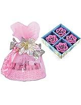 Skylofts Beautiful Chocolate Handle Basket with 4 pc Candle set Diwali combo