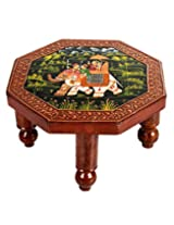 Traditional Brown Wood Table Elephant Hand Painted By Rajrang