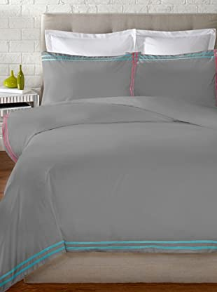 Mason Street Textiles Cross Band Duvet Set (Grey/Turquoise/Azalea)