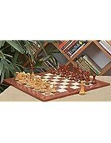 Chessbazaar Combo Of Pegasus Series Artisan Staunton Chess Set In Bud Rose Wood / Box Wood & Red Ash Burl Maple Board