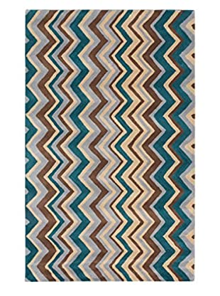 Handmade Zig Zag Rug, Light Yellow/Turquoise, 5' x 8'