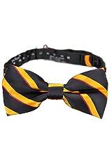 PenSee 100% Silk Mens Pre-tied Bow Tie Stripe Black & Orange & Red Bow Ties