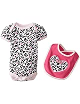 Bon Bebe Baby Girls Newborn Animal Print Bib And Bodysuit Set By Bon Bebe