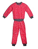 Naughty Niño's set of Cherry Red sweatshirt and track pant setwith cute Animal Print