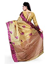 Asavari Blended Banarasi Saree(A15Rb-Chk-Oms-Mag_Beige & Majenta)