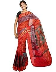 Bunkar Banarasi Ethnic Net Saree With Blouse Piece_1258-RED