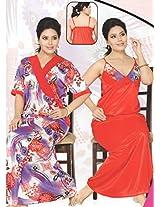Indiatrendzs Women's Sexy Hot Sleep Wear Red Satin 2pc Set Lingerie Nighty