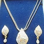 Delicate Gold Plated Crystal Necklace Pendant, Earrings Bridal Jewelry Set