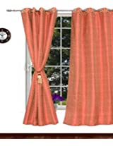 Avioni premium rich red jaquard Eyelet curtain Faux silk Material with free tie back (4 feet X 7 feet) (set of 2)