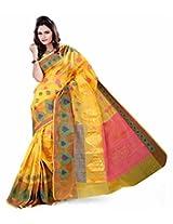 Asavari Fresh Yellow Cotton Banarasi Weaved Saree