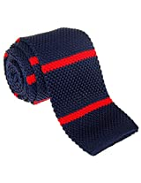 """Retreez Smart Casual Men's 2.4"""" Skinny Knit Tie with Stripes - Navy Blue with Red"""