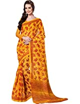 Pagli Yellow With Red Colour Soft Cotton Printed Saree.