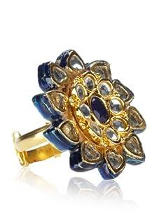 Taara Blue Crystal & Enameled Adjustable Flower Ring