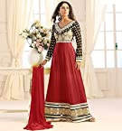 Sangeeta Ghosh Designer Red And Black Long Anarkali Suit