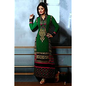 Bollywood Hina Khan Georgette Straight Suit in Green Colour 34012