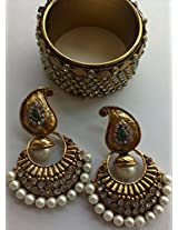 Fancy Gold Plated Mango Shape Earings with Traditional Bangles