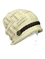 Wrapables Knitted Slouched Ski Cap, Cream, Cream