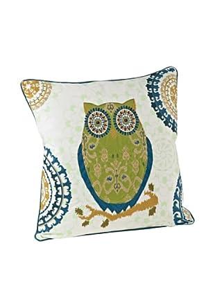 Saro Lifestyle Chartreuse Owl Square Pillow