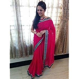 SevenFolds Lovely Pink Cotton Designer Saree