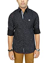 AA' Southbay Men's Black Printed 100% Premium Cotton Long Sleeve Casual Shirt