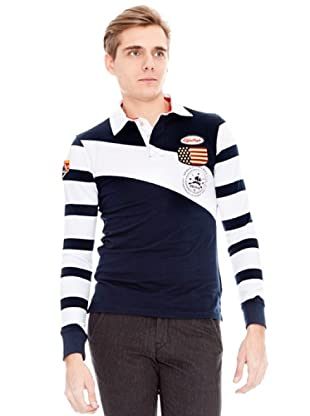 Unitryb Polo Manga Larga (Blanco / Navy)
