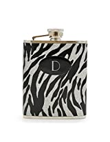 Cathy's Concepts Personalized Glitter Zebra Stainless Steel Flask, Monogrammed Letter D, Black/Silver