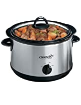Crock-Pot Regular 5-Quart Round Manual Slow Cooker, Stainless Steel