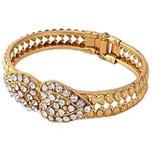 Austrian Diamond Gold Plated Heart Bangle