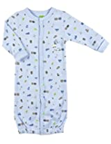 Kushies Baby Full Sleeves Convertible Gown - Blue