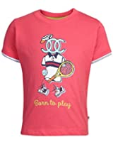 Ollypop T-Shirt Half Sleeves Born To Play Print - Red