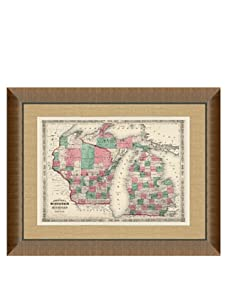 """Johnson and Ward Antique Map of Wisconsin & Michigan, 1860's, 28"""" x 34"""""""