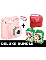 Fujifilm Instax Mini 8 - Pink + 40 Pack Instax Film + Butterfly Red Gm Bag + Pink Selfie Mirror